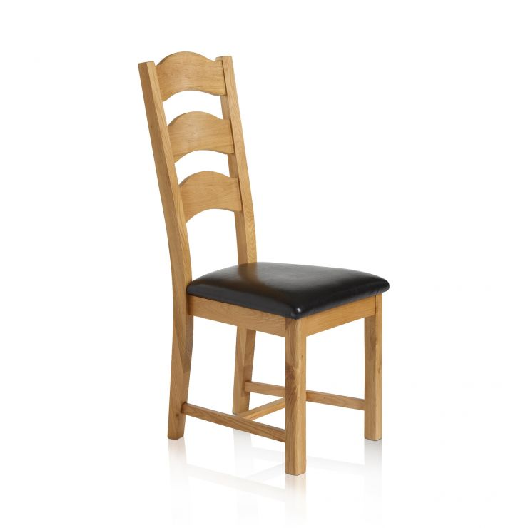 Rhodes Natural Solid Oak and Black Leather Dining Chair - Image 2
