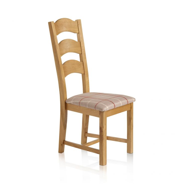 Rhodes Natural Solid Oak and Check Natural Fabric Dining Chair - Image 2
