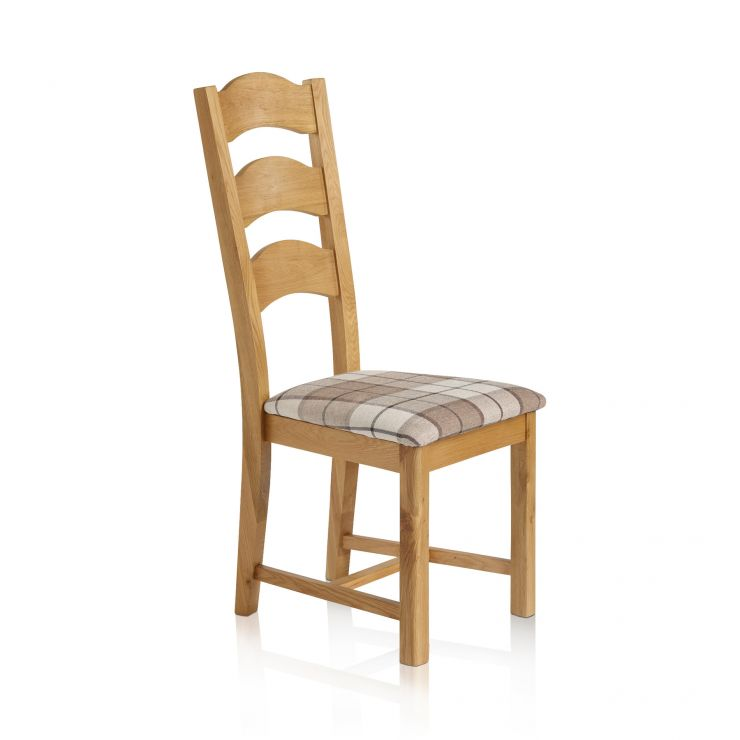 Rhodes Natural Solid Oak and Checked Brown Fabric Dining Chair