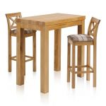 """Rhodes Natural Solid Oak Breakfast Set - 3ft 3"""" Table with 2 Cross Back Check Brown Fabric Bar Stools - Thumbnail 1"""