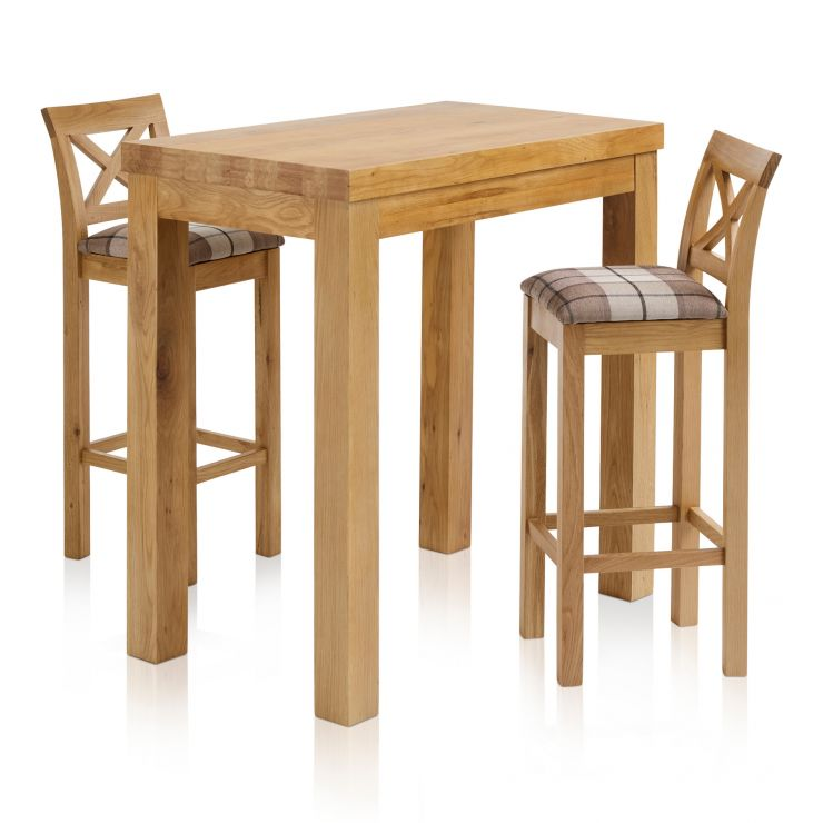"""Rhodes Natural Solid Oak Breakfast Set - 3ft 3"""" Table with 2 Cross Back Check Brown Fabric Bar Stools - Image 7"""