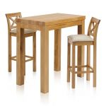 "Rhodes Natural Solid Oak Breakfast Set - 3ft 3"" Table with 2 Cross Back Plain Beige Fabric Bar Stools - Thumbnail 1"