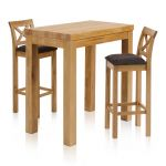 "Rhodes Natural Solid Oak Breakfast Set - 3ft 3"" Table with 2 Cross Back Plain Charcoal Fabric Bar Stools - Thumbnail 1"