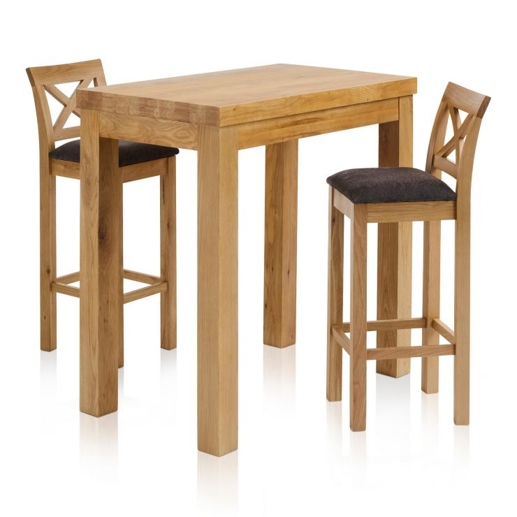 "Rhodes Natural Solid Oak Breakfast Set - 3ft 3"" Table with 2 Cross Back Plain Charcoal Fabric Bar Stools - Image 1"