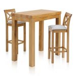 "Rhodes Natural Solid Oak Breakfast Set - 3ft 3"" Table with 2 Cross Back Plain Grey Fabric Bar Stools - Thumbnail 1"