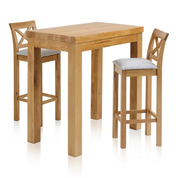 "Rhodes Natural Solid Oak Breakfast Set - 3ft 3"" Table with 2 Cross Back Plain Grey Fabric Bar Stools"