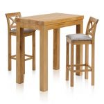 "Rhodes Natural Solid Oak Breakfast Set - 3ft 3"" Table with 2 Cross Back Plain Truffle Fabric Bar Stools - Thumbnail 1"