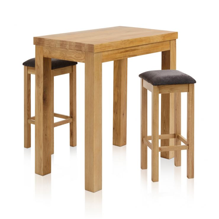 "Rhodes Natural Solid Oak Breakfast Set - 3ft 3"" Table with 2 Square Plain Charcoal Fabric Bar Stools"