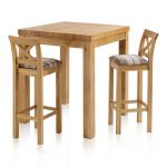 Rhodes Natural Solid Oak Breakfast Set - 3ft Table with 2 Cross Back Check Brown Fabric Bar Stools - Thumbnail 1