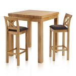 Rhodes Natural Solid Oak Breakfast Set - 3ft Table with 2 Cross Back Plain Charcoal Fabric Bar Stools - Thumbnail 1