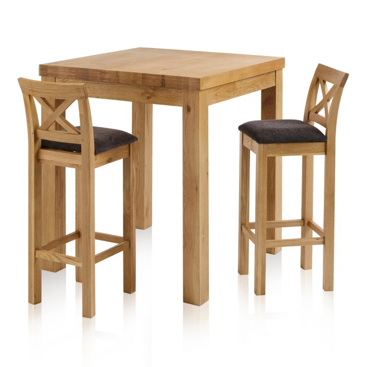 Rhodes Natural Solid Oak Breakfast Set - 3ft Table with 2 Cross Back Plain Charcoal Fabric Bar Stools - Image 1