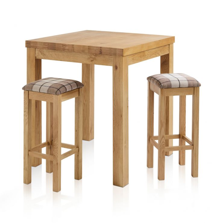 Rhodes Natural Solid Oak Breakfast Set - 3ft Table with 2 Square Check Brown Fabric Bar Stools