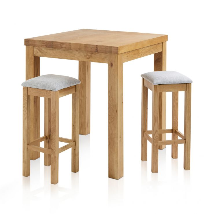 Rhodes Natural Solid Oak Breakfast Set - 3ft Table with 2 Square Plain Grey Fabric Bar Stools