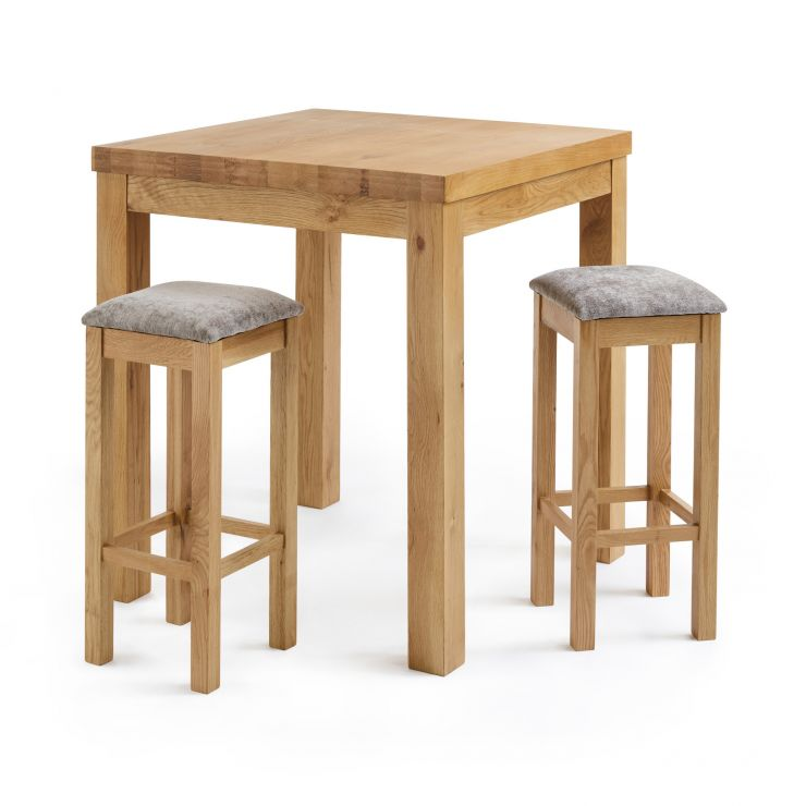 Rhodes Natural Solid Oak Breakfast Set - 3ft Table with 2 Square Plain Truffle Fabric Bar Stools - Image 1