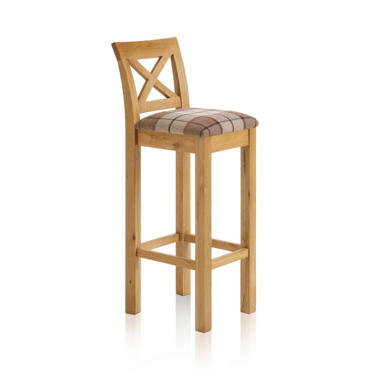 Rhodes Natural Solid Oak Cross Back Bar Stool with Check Brown Fabric Pad - Image 4