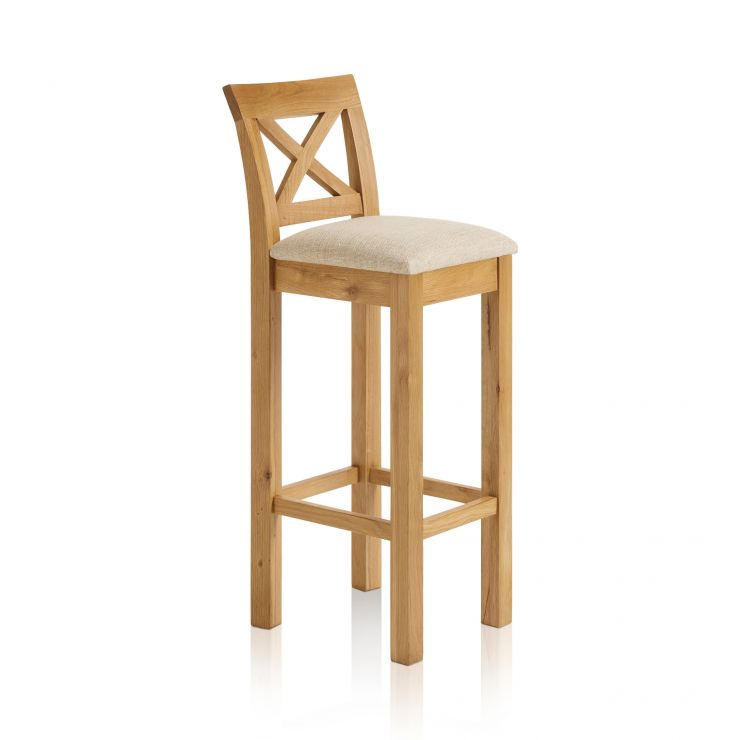 Rhodes Natural Solid Oak Cross Back Bar Stool with Plain Beige Fabric Pad - Image 4