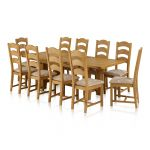 Rhodes Natural Solid Oak Dining Set - 9ft Extending Dining Table with 10 Patterned Beige Dining Chairs - Thumbnail 1