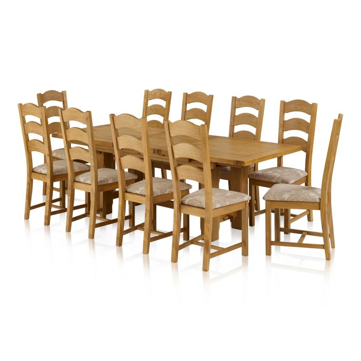 Rhodes Natural Solid Oak Dining Set - 9ft Extending Dining Table with 10 Patterned Beige Dining Chairs