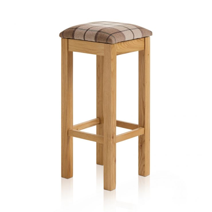 Rhodes Natural Solid Oak Square Bar Stool with Check Brown Fabric Pad - Image 1