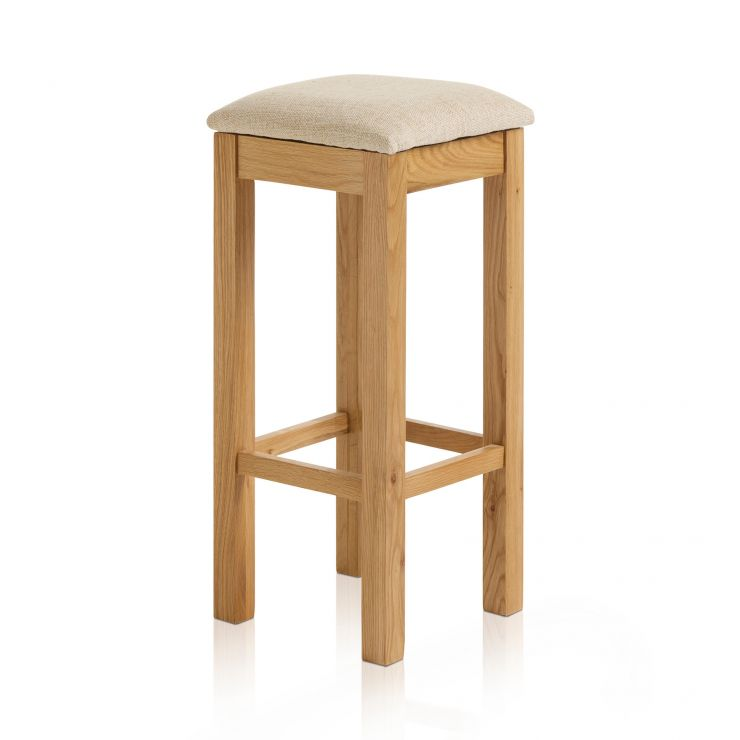 Rhodes Natural Solid Oak Square Bar Stool with Plain Beige Fabric Pad - Image 4