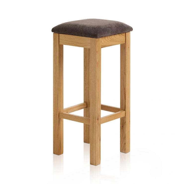 Rhodes Natural Solid Oak Square Bar Stool with Plain Charcoal Fabric Pad - Image 4