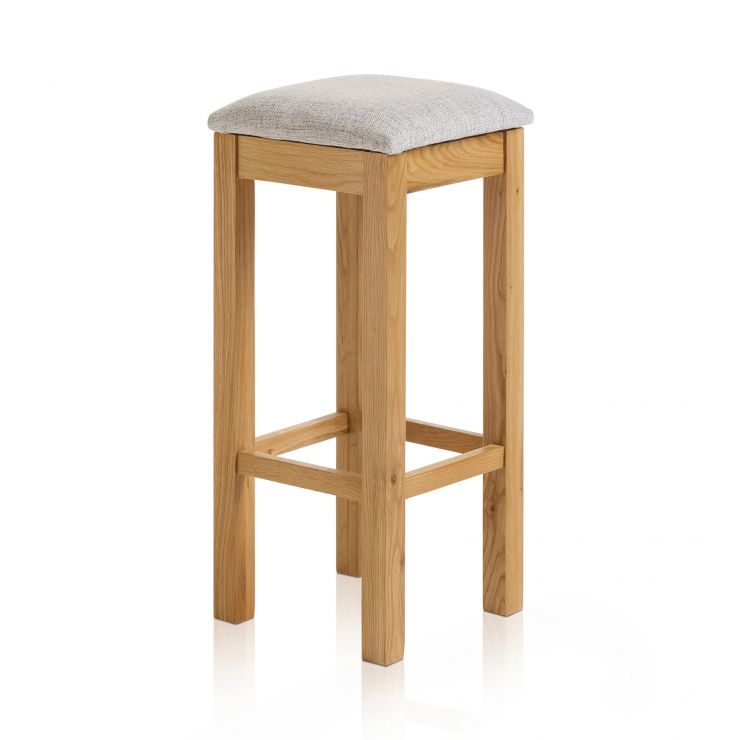 Rhodes Natural Solid Oak Square Bar Stool with Plain Grey Fabric Pad - Image 1