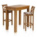 "Rhodes Rustic Solid Oak Breakfast Set - 3ft 3"" Table with 2 Cross Back Check Brown Fabric Bar Stools - Thumbnail 1"