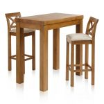 "Rhodes Rustic Solid Oak Breakfast Set - 3ft 3"" Table with 2 Cross Back Plain Beige Fabric Bar Stools - Thumbnail 1"