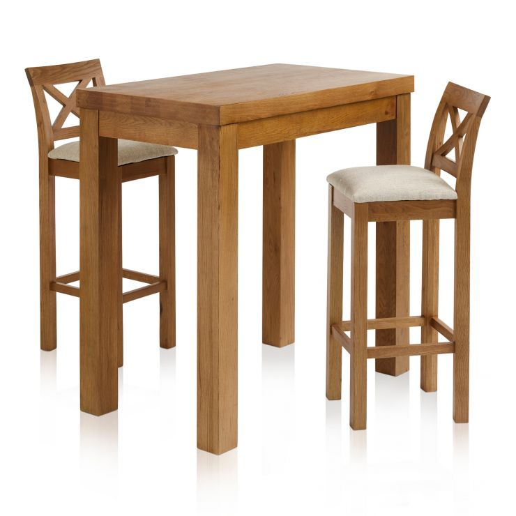 "Rhodes Rustic Solid Oak Breakfast Set - 3ft 3"" Table with 2 Cross Back Plain Beige Fabric Bar Stools"