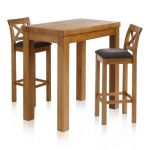 "Rhodes Rustic Solid Oak Breakfast Set - 3ft 3"" Table with 2 Cross Back Plain Charcoal Fabric Bar Stools - Thumbnail 1"