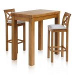"Rhodes Rustic Solid Oak Breakfast Set - 3ft 3"" Table with 2 Cross Back Plain Grey Fabric Bar Stools - Thumbnail 1"