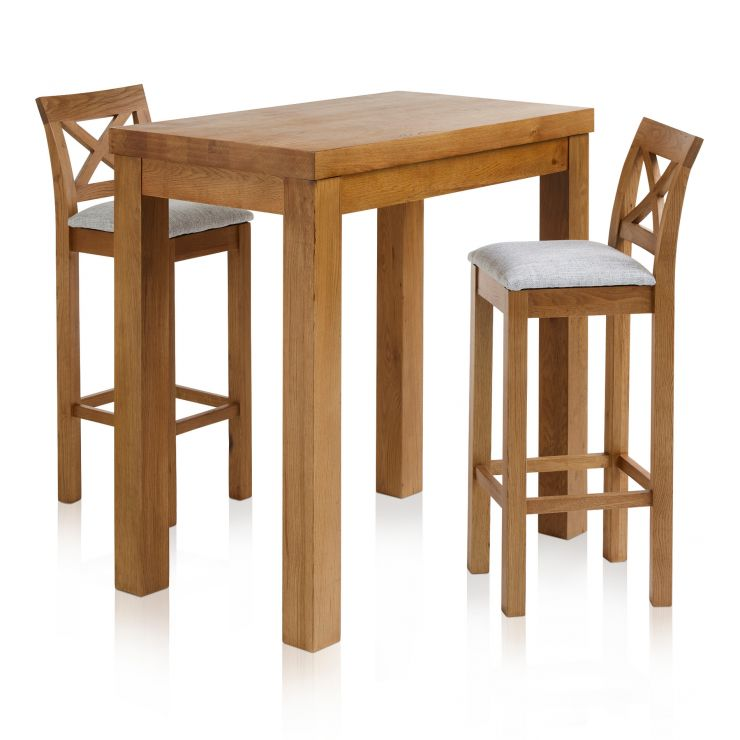 "Rhodes Rustic Solid Oak Breakfast Set - 3ft 3"" Table with 2 Cross Back Plain Grey Fabric Bar Stools"