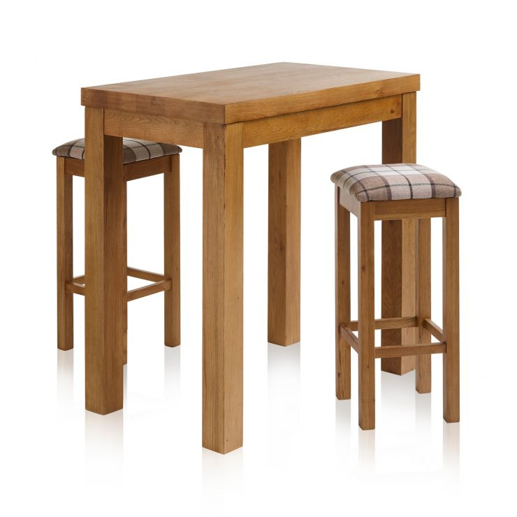 "Rhodes Rustic Solid Oak Breakfast Set - 3ft 3"" Table with 2 Square Check Brown Fabric Bar Stools"