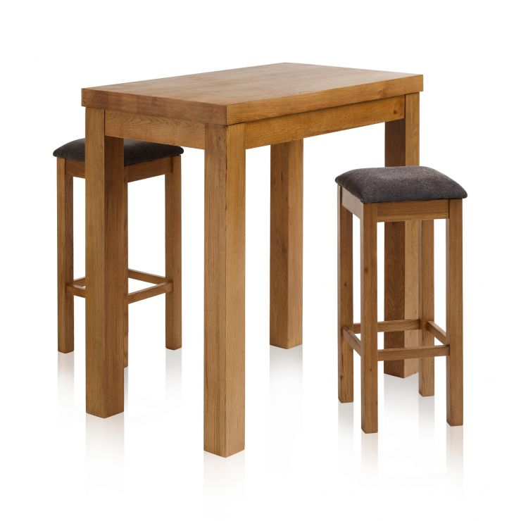 "Rhodes Rustic Solid Oak Breakfast Set - 3ft 3"" Table with 2 Square Plain Charcoal Fabric Bar Stools - Image 1"