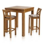 Rhodes Rustic Solid Oak Breakfast Set - 3ft Table with 2 Cross Back Check Brown Fabric Bar Stools - Thumbnail 1