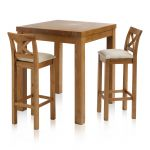 Rhodes Rustic Solid Oak Breakfast Set - 3ft Table with 2 Cross Back Plain Beige Fabric Bar Stools - Thumbnail 1