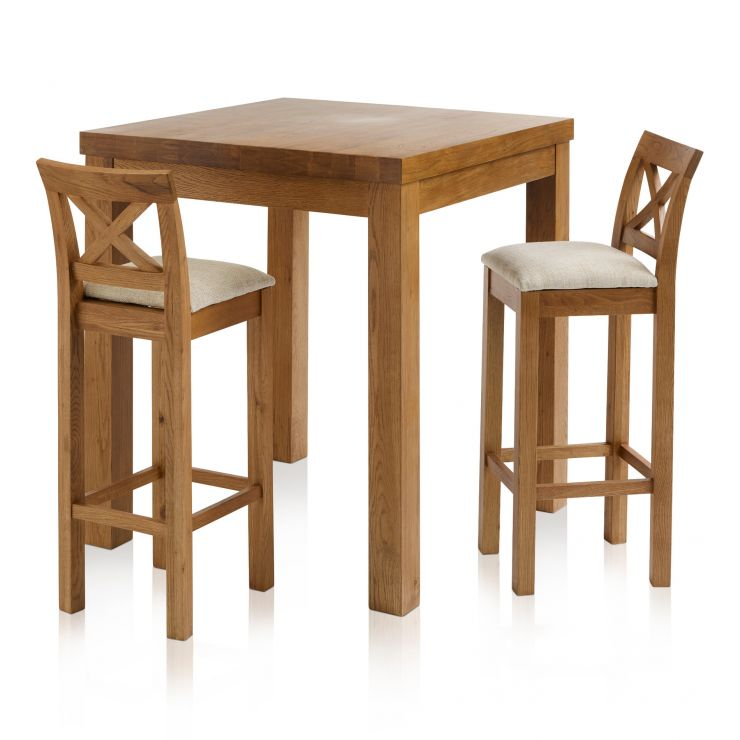 Rhodes Rustic Solid Oak Breakfast Set - 3ft Table with 2 Cross Back Plain Beige Fabric Bar Stools - Image 1