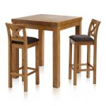 Rhodes Rustic Solid Oak Breakfast Set - 3ft Table with 2 Cross Back Plain Charcoal Fabric Bar Stools - Thumbnail 1