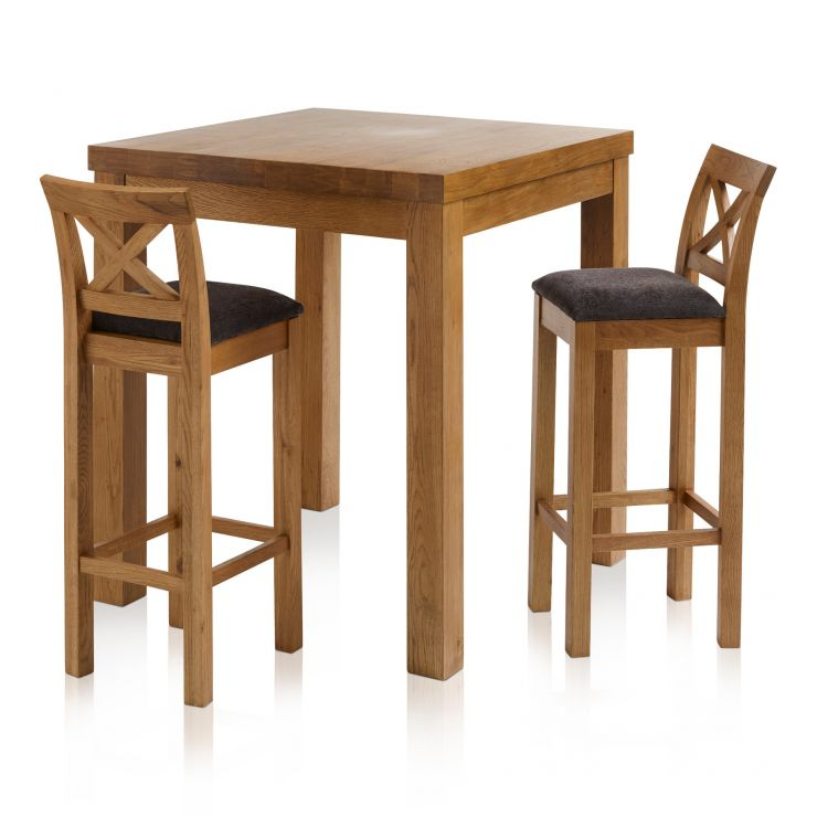 Rhodes Rustic Solid Oak Breakfast Set - 3ft Table with 2 Cross Back Plain Charcoal Fabric Bar Stools