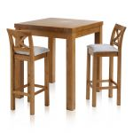 Rhodes Rustic Solid Oak Breakfast Set - 3ft Table with 2 Cross Back Plain Grey Fabric Bar Stools - Thumbnail 1