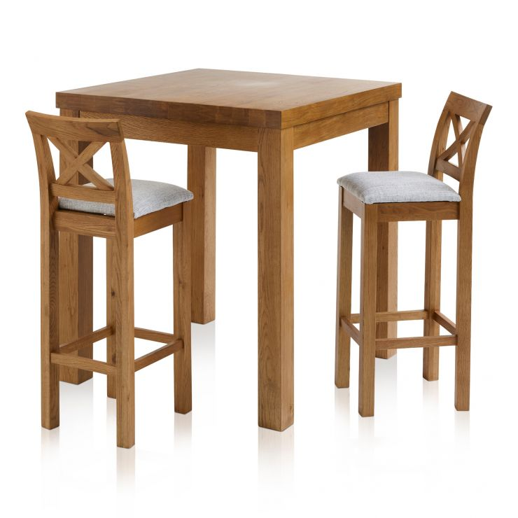 Rhodes Rustic Solid Oak Breakfast Set - 3ft Table with 2 Cross Back Plain Grey Fabric Bar Stools - Image 1
