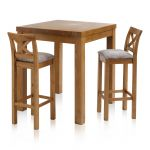 Rhodes Rustic Solid Oak Breakfast Set - 3ft Table with 2 Cross Back Plain Truffle Fabric Bar Stools - Thumbnail 1