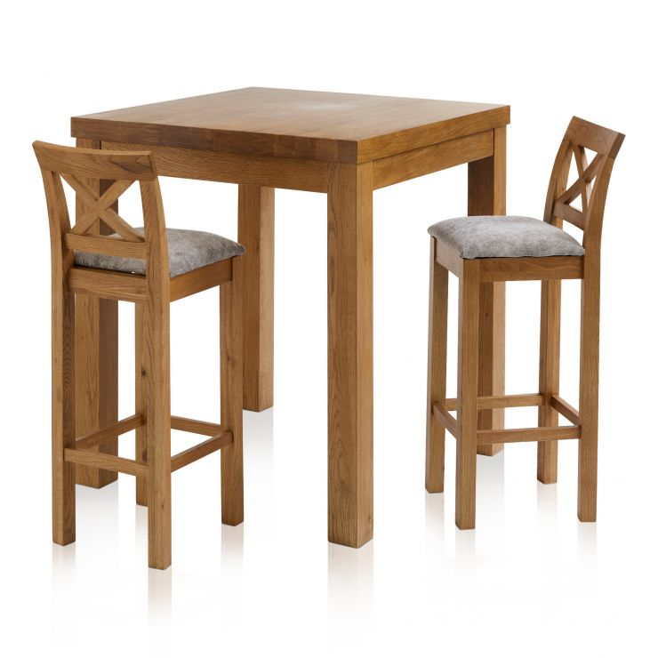 Rhodes Rustic Solid Oak Breakfast Set - 3ft Table with 2 Cross Back Plain Truffle Fabric Bar Stools