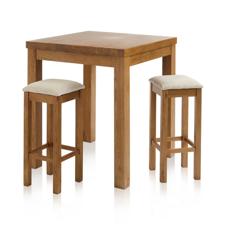 Rhodes Rustic Solid Oak Breakfast Set - 3ft Table with 2 Square Plain Beige Fabric Bar Stools - Image 1