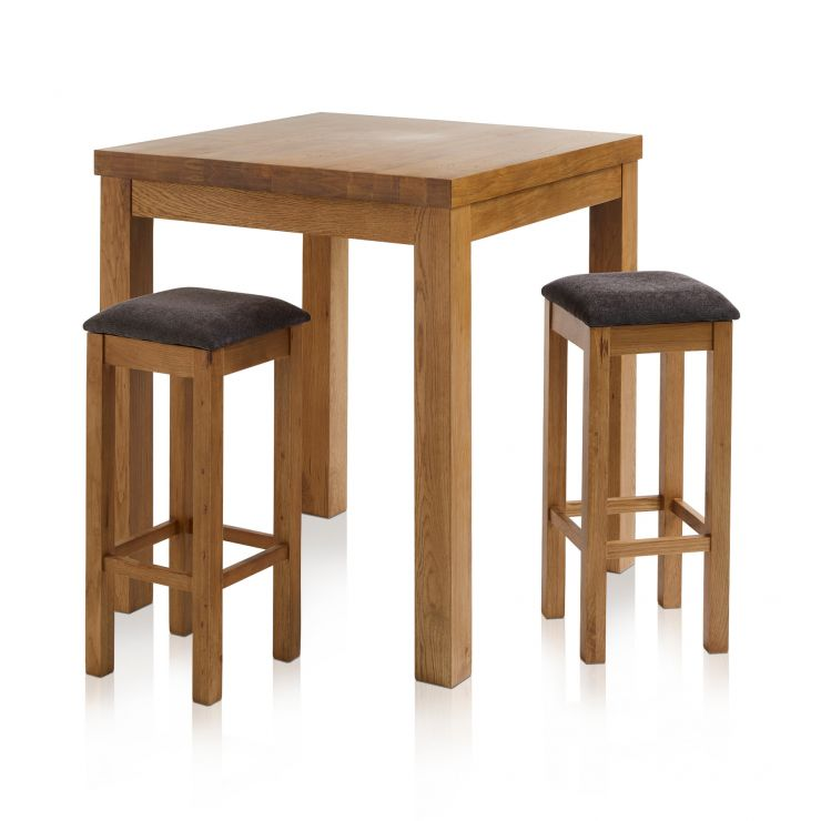 Rhodes Rustic Solid Oak Breakfast Set - 3ft Table with 2 Square Plain Charcoal Fabric Bar Stools - Image 7