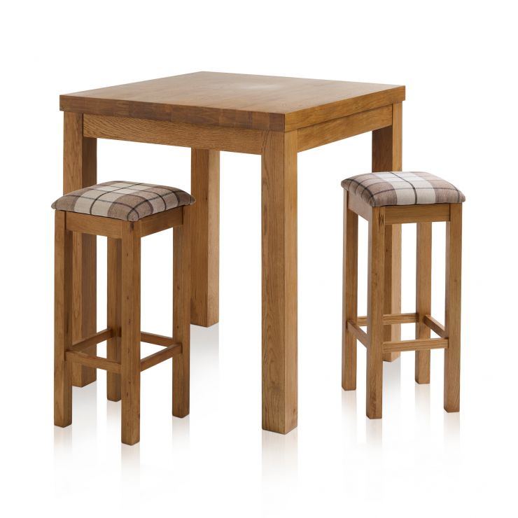 Rhodes Rustic Solid Oak Breakfast Set - 3ft Table with 2 Square Plain Check Brown Fabric Bar Stools - Image 1