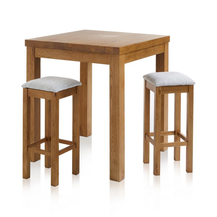 Rhodes Rustic Solid Oak Breakfast Set - 3ft Table with 2 Square Plain Grey Fabric Bar Stools
