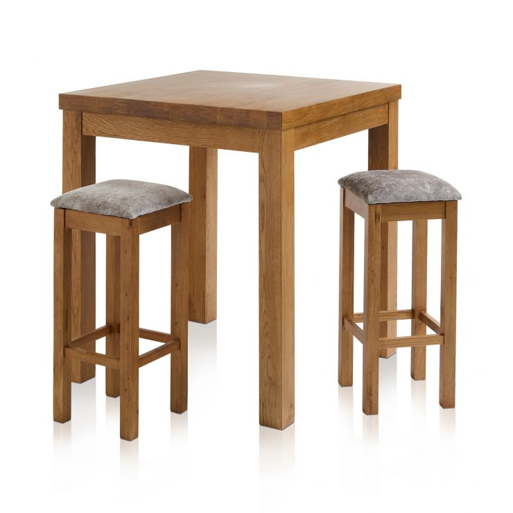 Rhodes Rustic Solid Oak Breakfast Set - 3ft Table with 2 Square Plain Truffle Fabric Bar Stools - Image 7