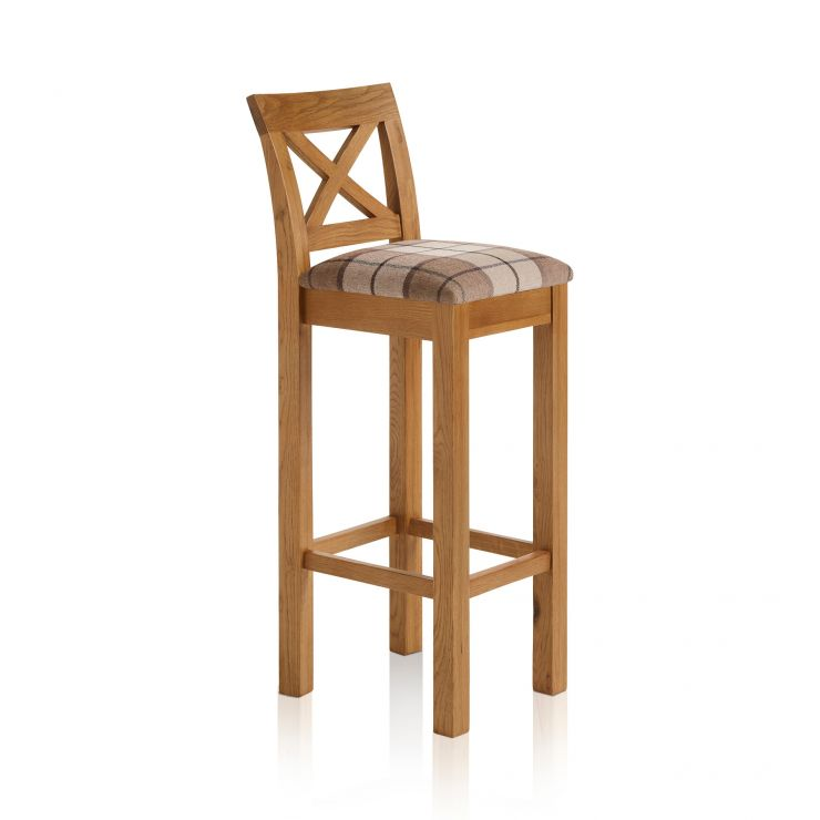 Rhodes Rustic Solid Oak Cross Back Bar Stool with Check Brown Fabric Pad