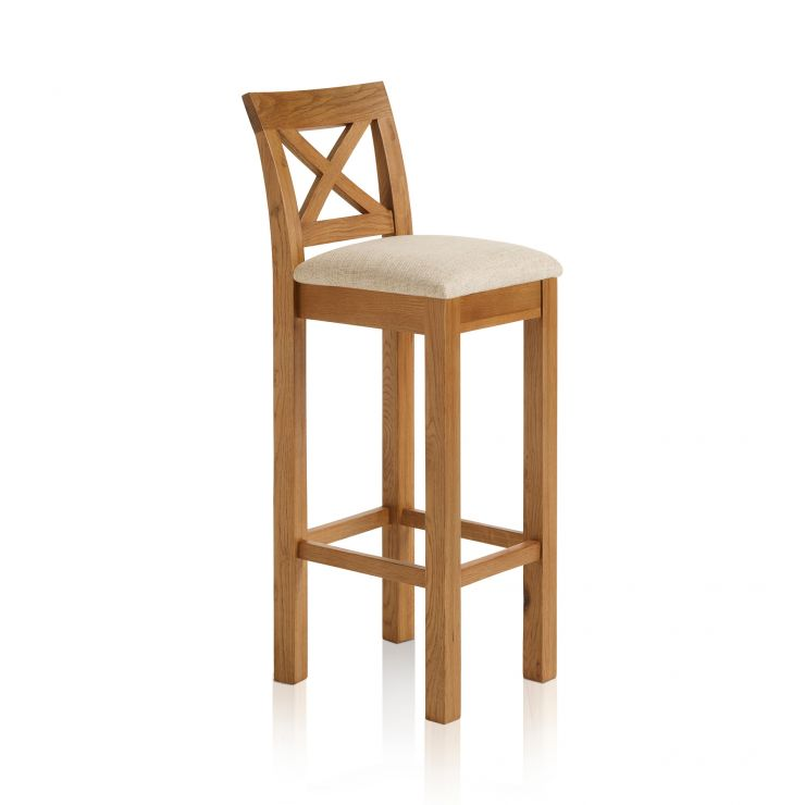 Rhodes Rustic Solid Oak Cross Back Bar Stool with Plain Beige Fabric Pad